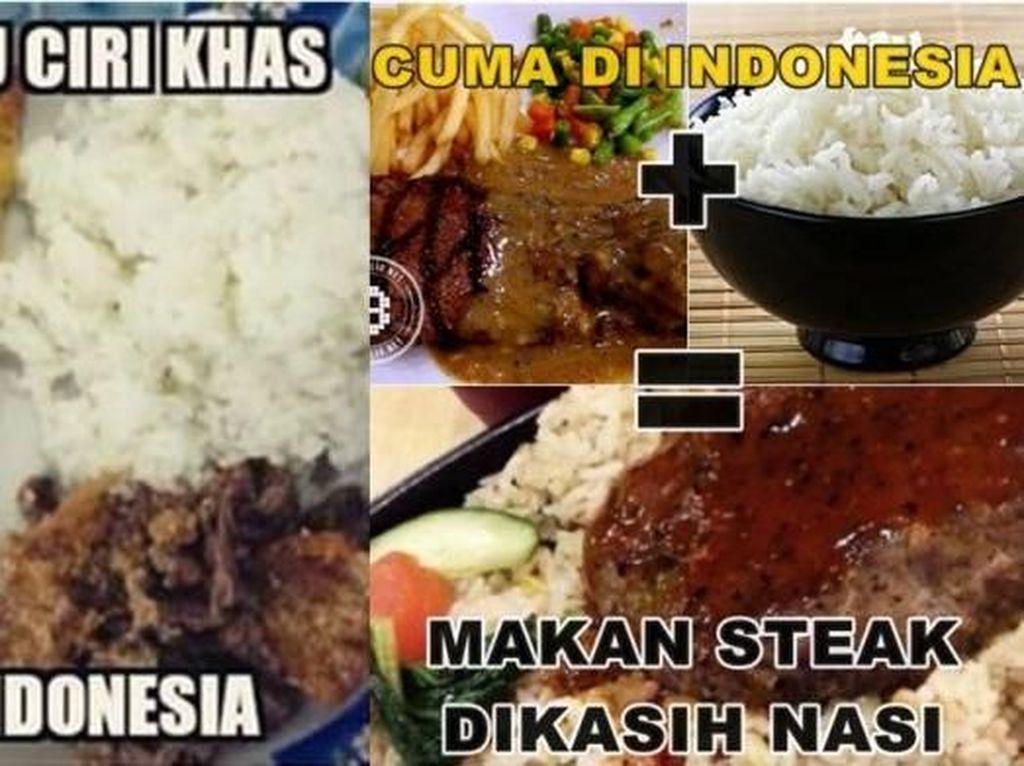 Waduh serem. Katanya salah satu ciri khas orang Indonesia. Makan pizza, mie dan steak pake nasi. Kamu begitu nggak? Foto: Istimewa