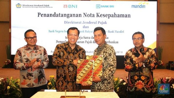 Direktorat Jenderal Pajak (DJP) menandatangani Nota Kesepahaman tentang kerjasama dalam rangka Pemanfaatan Layanan Pajak dan Jasa Perbankan