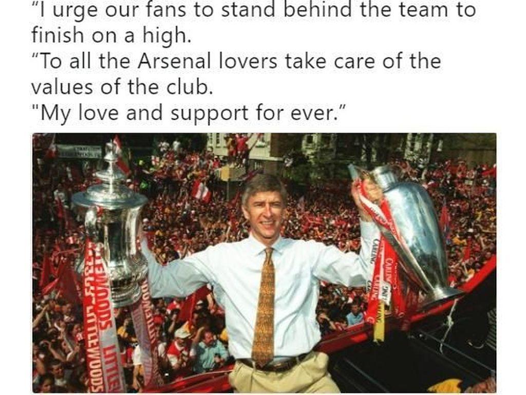 Ucapan perpisahan Wenger pun banyak ditulis netizen di Twitter. Foto: istimewa