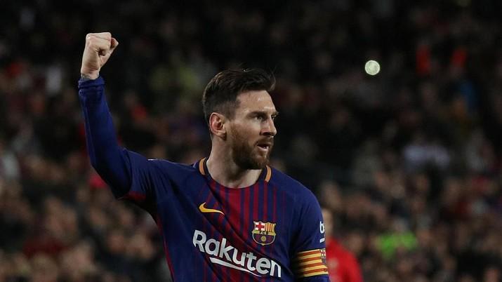 Soccer Football - La Liga Santander - FC Barcelona vs Leganes - Camp Nou, Barcelona, Spain - April 7, 2018   Barcelona's Lionel Messi celebrates scoring their first goal         REUTERS/Albert Gea