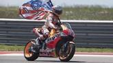 Marc Marquez memastikan podium pertama di MotoGP Amerika Serikat. Ini merupakan gelar keenamnya secara beruntun di Sirkuit Austin sejak 2013. (Getty Images/Getty Images/AFP)