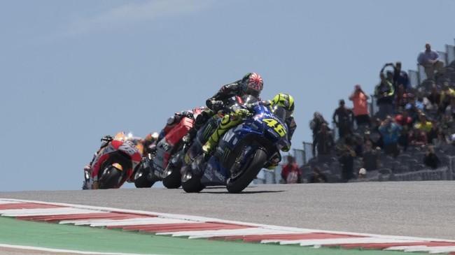 Valentino Rossi start di posisi kelima dan finis di MotoGP Amerika Serikat, juga di peringkat kelima atau gagal meraih podium. (Getty Images/Getty Images/AFP)