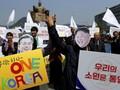 FOTO:  Gema Satu Korea Sambut Pertemuan Kim Jong-un dan Moon