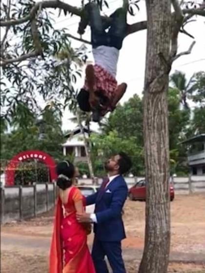 Motret Sambil Gelantungan, Inikah Fotografer Pernikahan Paling Berdedikasi?