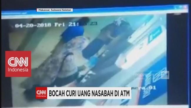Terekam CCTV, Bocah Curi Uang Nasabah di ATM