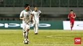 Gelandang Selangor FA Evan Dimas Darmono juga mendapat kesempatan bermain di babak kedua dan menambah ketajaman Timnas Indonesia. (CNN Indonesia/Andry Novelino)