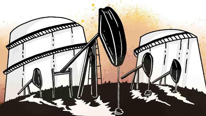 Dalam sepekan terakhir, harga minyak light sweet amblas 4,67% secara point-to-point, sedangkan harga brent ambrol 3,64%.