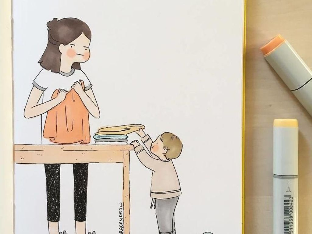 10 Ilustrasi Manis Gambarkan Momen Ibu Urus Buah Hati Kecilnya