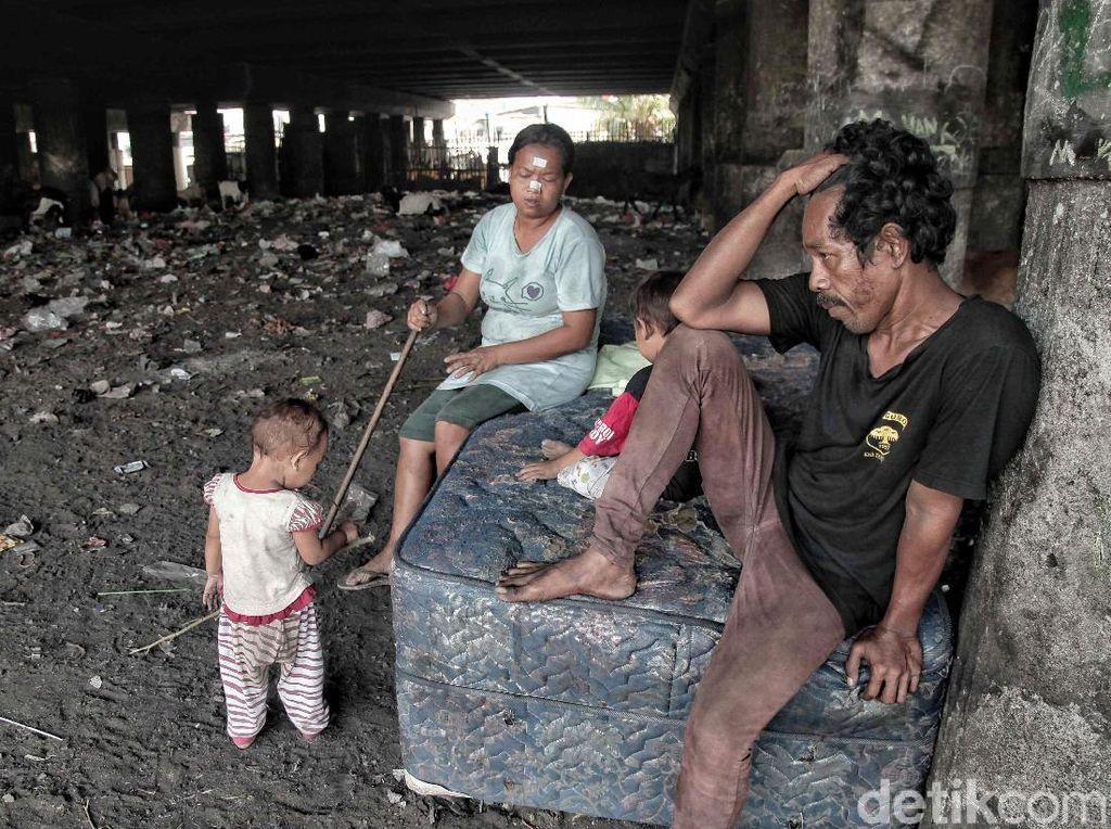 Tidak sedikit dari mereka yang tinggal di bawah kolong jembatan ini bukan merupakan warga Jakarta. Menurut Badan Pusat Statistik DKI Jakarta Per September 2017, jumlah orang miskin di DKI Jakarta mengalami kenaikan sebesar 3,77% (3,44 ribu orang), dari 389,69 ribu menjadi 393,13 ribu orang antara Maret ke September 2017.