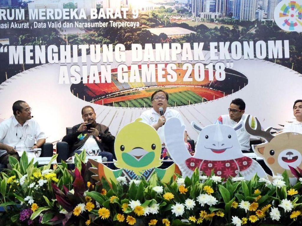 Menteri PPN/Kepala Bappenas Bambang Brodjonegoro bersama Menpar Arief Yahya, Wagub DKI Jakarta Sandiaga Uno, dan Ketum Inasgoc 2018 Erick Thohir menjadi pembicara diskusi Menghitung Dampak Ekonomi Asian Games 2018, Minggu (14/5/2018).