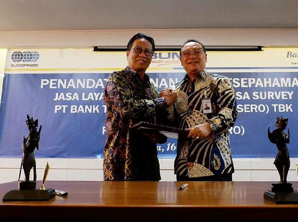 Direktur Utama BTN Maryono dan Direktur Utama Sucofindo Bachder Djohan Buddin menanandatangani Naskah Sesepahaman Bersama (MOU) di Jakarta, Rabu (16/5/2018). Istimewa.
