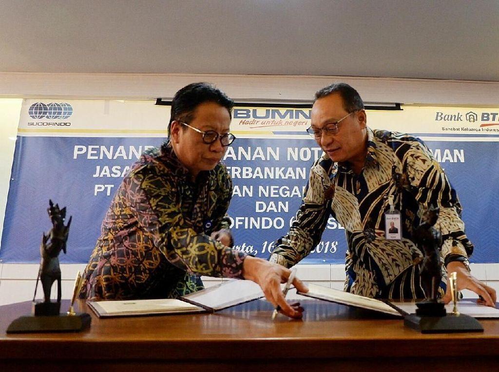 PT Bank Tabungan Negara (Persero) Tbk menggaet Sucofindo kerjasama dalam pemanfaatan produk dan jasa layanan perbankan. Istimewa.
