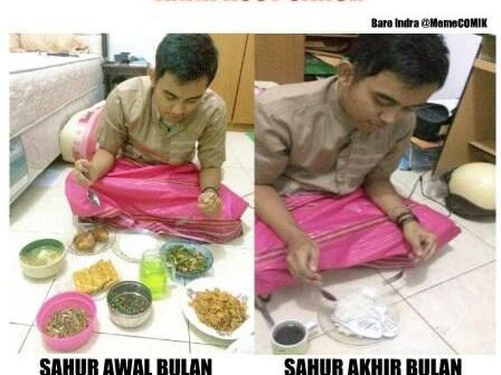 Buat anak kosan, sahur awal-awal puasa masih enak. Begitu akhir Ramadan, sahurnya cukup nasi saja. Foto: istimewa