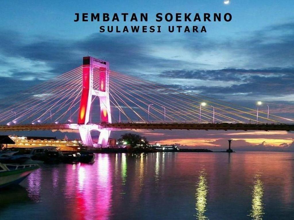 Ini adalah Jembatan Soekarno di Manado. Jembatan ini dibangun dengan biaya Rp 300 miliar. Istimewa/Kementerian PUPR.