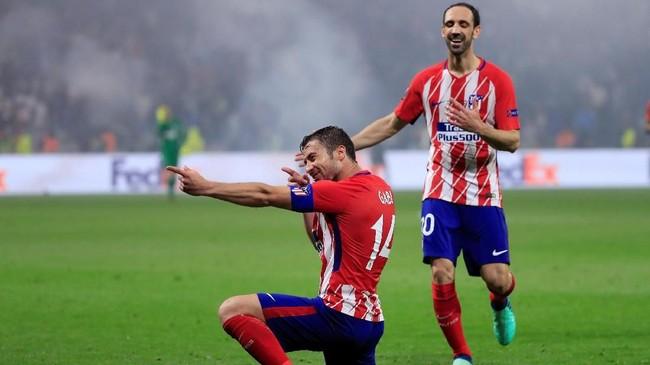 Kemenangan 3-0 Atletico Madrid ditutup gol kapten tim Gabi pada menit ke-89 yang sukses menerima umpan Koke. (REUTERS/Gonzalo Fuentes)