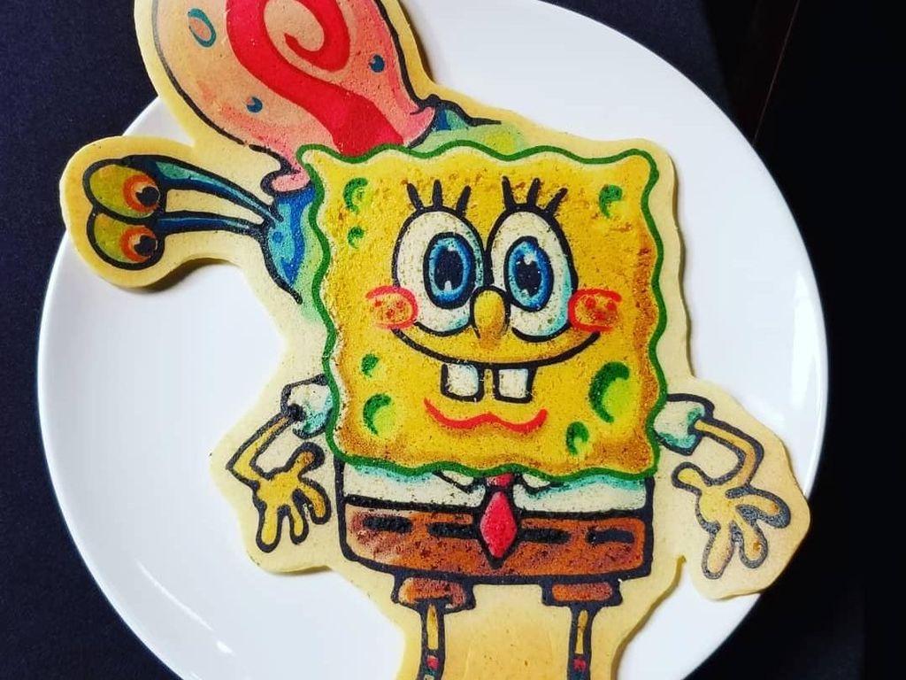 Pancake ini khusus untuk para pencinta Spongebob. Lihat karakter kartun imut ini dengan aneka warna menggemaskan. Foto: Instagram drdancake