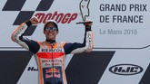 Marc Marquez meraih tiga kemenangan beruntun di MotoGP 2018. Sebelumnya, pebalap 25 tahun itu menang di MotoGP Amerika Serikat dan MotoGP Spanyol. (REUTERS/Gonzalo Fuentes)