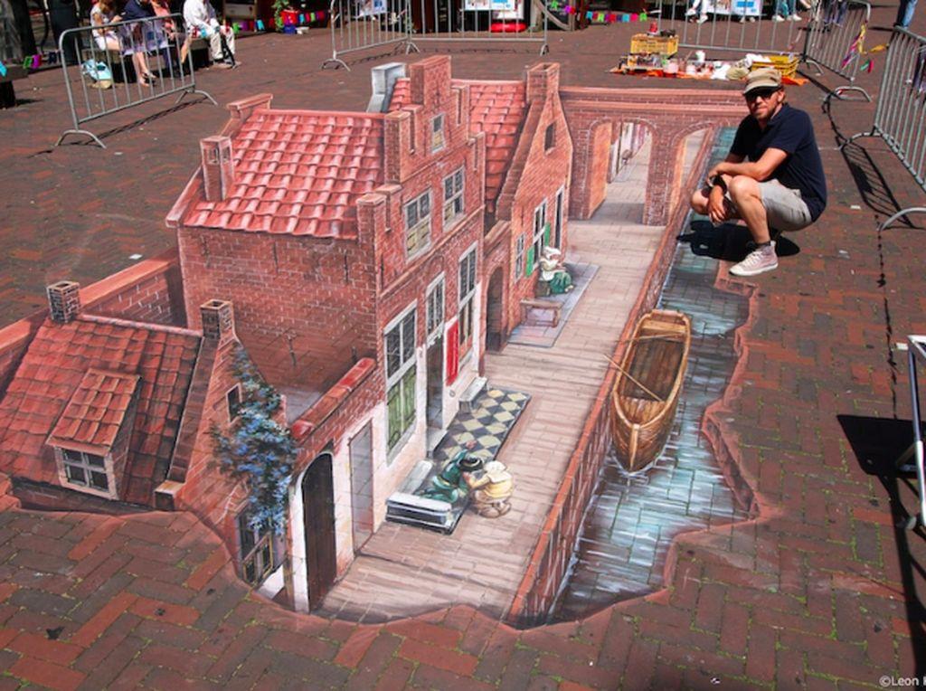 Ini adalah karya seniman Leon Kerr di jalanan Belanda. Sungguh niat sehingga hasilnya pun menakjubkan. Foto: mymodernmet