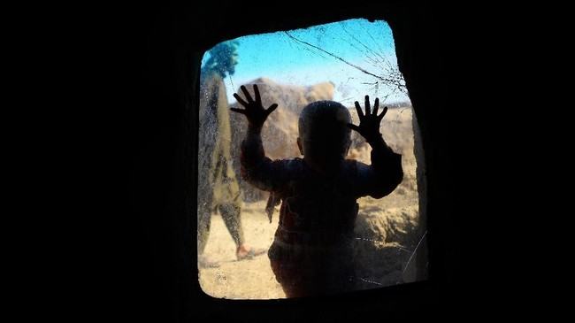 Seorang anak pengungsi Afghanistan dari luar jendela melihat ke dalam persinggahan sementaranya di perkampungan imigran di luar kota Herat. (AFP PHOTO / HOSHANG HASHIMI)
