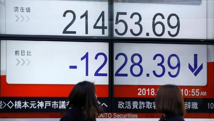 Indeks acuan Nikkei 225 kehilangan 0,33% menjadi 22.197,5 di sesi awal perdagangan hari Kamis.