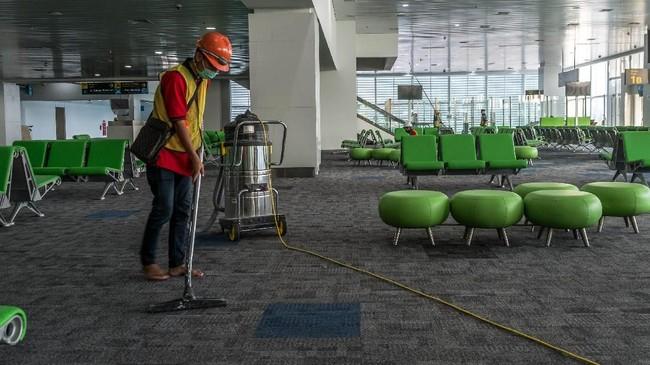 Luas area terminal baru bandara ini mencapai58.652 meter persegi, atau hampir sembilan kali lebih besar dibanding luasan terminal bandara lama. (ANTARA FOTO/Aji Styawan/foc/18).