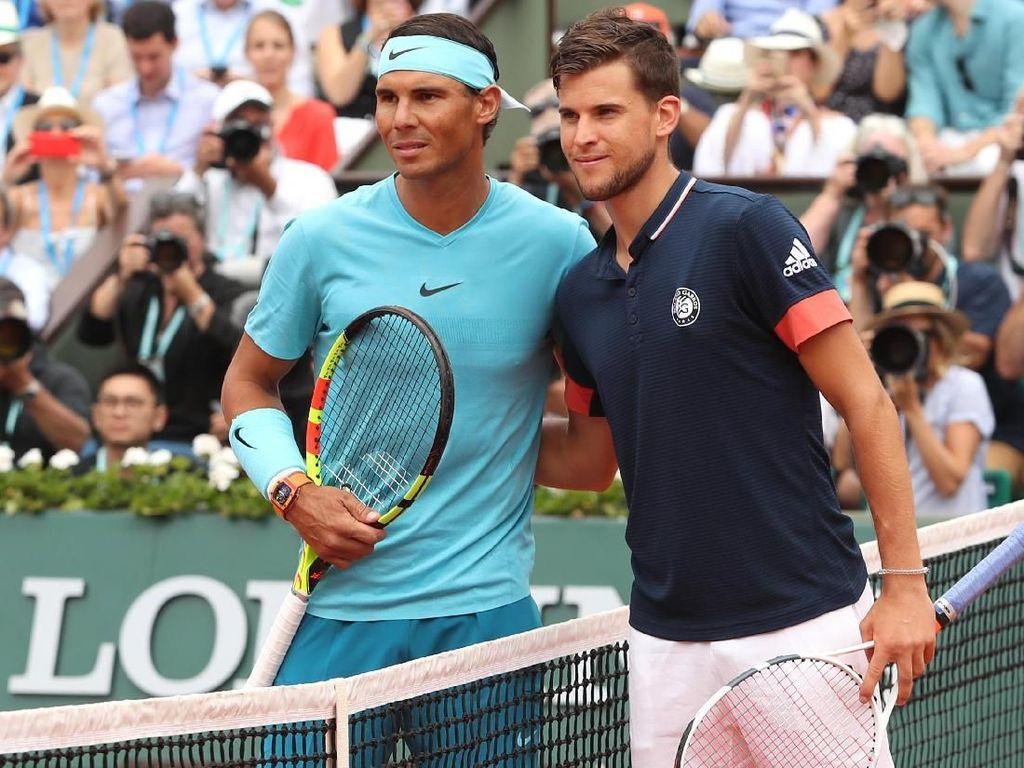 Ini adalah pertemuan ke-10 kedua petenis. Sebelum final itu, Nadal dan Thiem dua kali berjumpa di 2018. Nadal lebih dulu menang di Monte Carlo, sebelum Thiem membalas di final Madrid Terbuka. (Foto: Matthew Stockman/Getty Images)