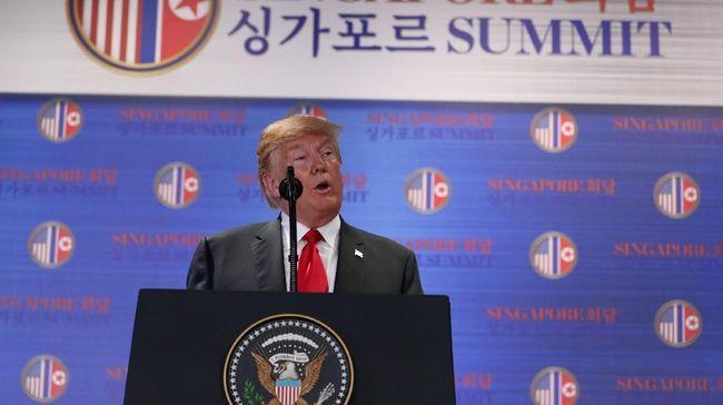 Usai Temui Kim, Trump Sepakat Hentikan Latihan Militer