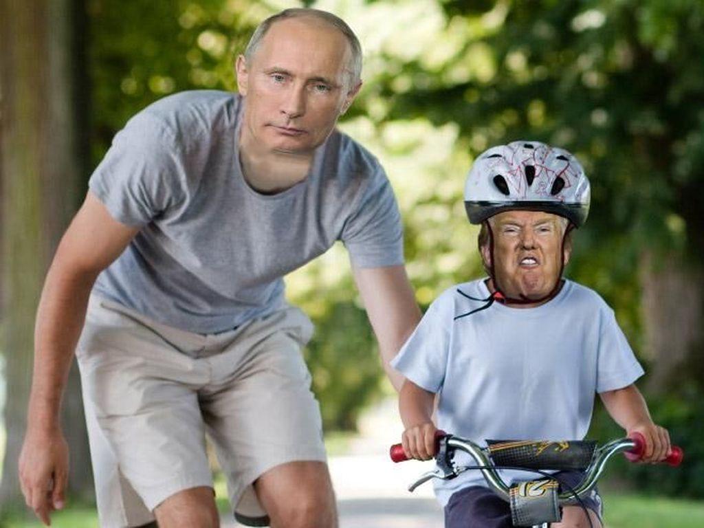 Belajar sepeda dengan Presiden Rusia Putin. Foto: Internet