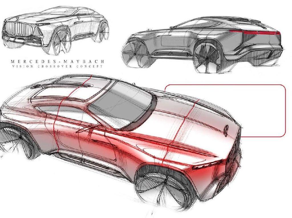 Didesain oleh Dongwon Lee, mobil Crossover sekaligus seperti SUV tiga pintu ini dikatakan terinspirasi oleh Maybach S-Class, Vision 6 study dan GLE Coupe. Foto: Pool (Carsscoops)