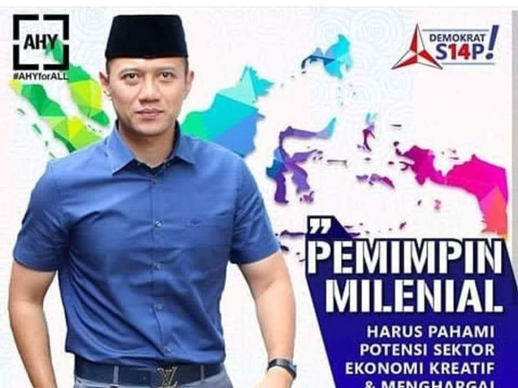 Sabuk LV Ketua Kogasma Partai Demokrat Agus Harimurti Yudhoyono (AHY) ramai dibahas. Demokrat menduga sabuk itu ramai dibahas karena ada penguasa yang khawatir dan PD balik mengungkit chopper yang dipakai Jokowi. (Foto: Poster kampanye kearifan lokal AHY)