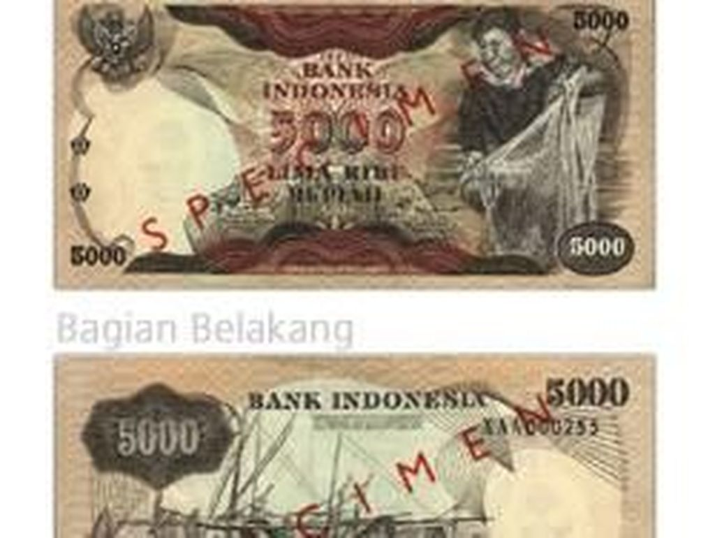 Uang kertas pecahan Rp 5.000/TE 1975. Istimewa/Dok. Bank Indonesia.
