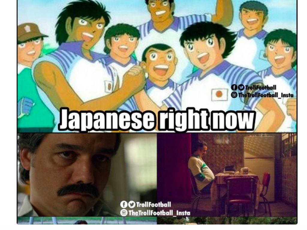 Jepang Kandaskan Kolombia, Meme Tsubasa Bertebaran