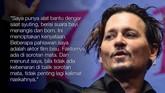 Di tengah-tengah rasa frustasinya akan masalah personal, Johnny Depp juga mengakui ia menggunakan teknik khusus selama syuting, yang juga membenarkan rumor ia menyewa orang untuk membacakan naskah. (AFP PHOTO/Kazuhiro NOGI)