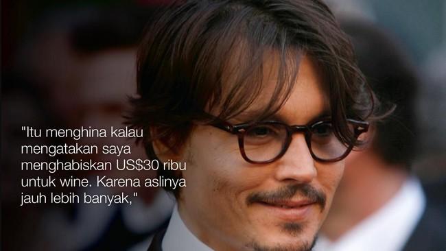 Johnny Depp menjawab tuduhan dari mantan manajernya yang menyebut ia boros menghabiskan US$30 ribu hanya untuk membeli wine. (REUTERS/Lucas Jackson)