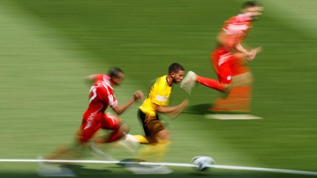 Melawan Tunisia, Belgia menciptakan 12 tembakan tepat sasaran, sejauh ini menjadi yang terbanyak di antara negara-negara lainnya di Piala Dunia 2018.(REUTERS/Kai Pfaffenbach)