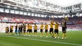 Berkat kemenangan ini, Belgia kini memimpin klasemen sementara Grup E dengan raihan enam poin. Mereka akan melawan Inggris di laga terakhir. (REUTERS/Carl Recine)