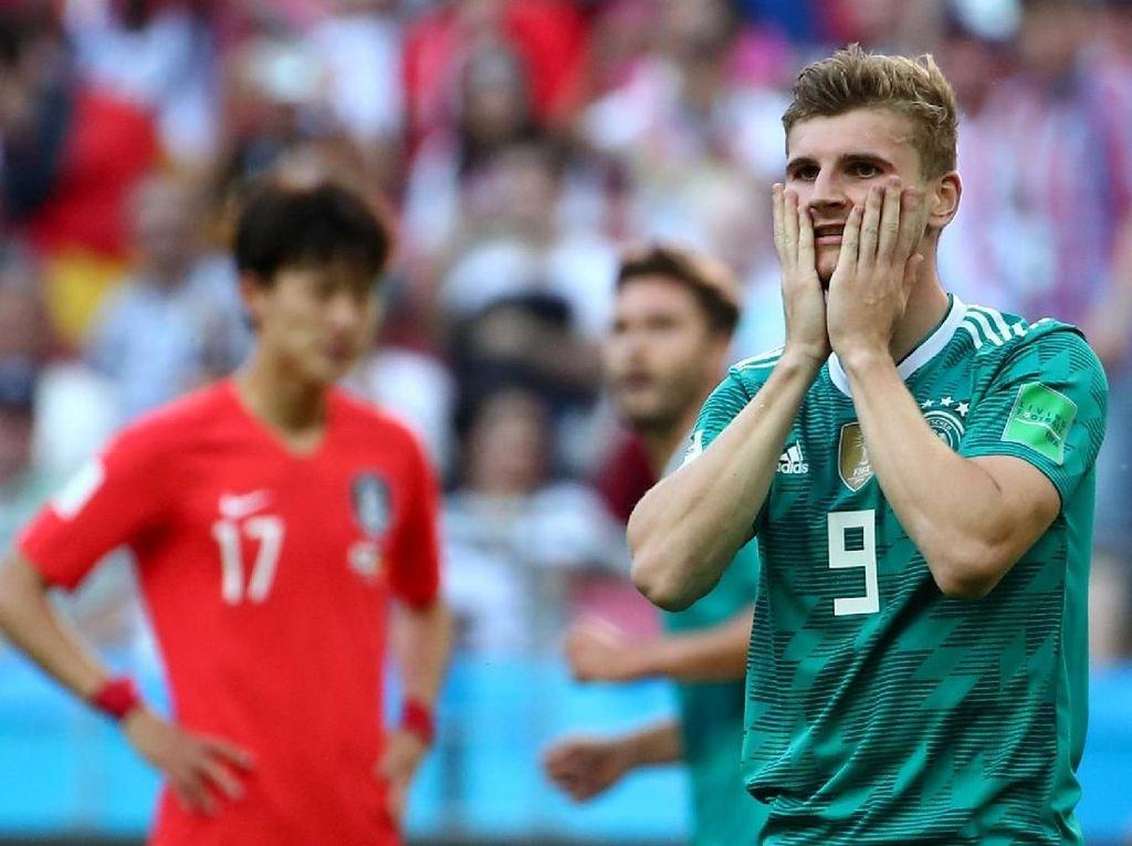 Digadang-gadang sebagai striker masa depan Jerman, Timo Werner belum sekalipun mencatatkan namanya di papan skor. (REUTERS/Michael Dalder)