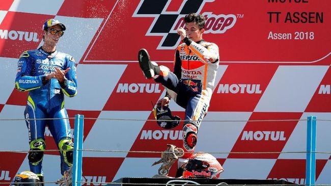 Marquez Senang Rossi Gagal Finis Kedua di MotoGP Belanda