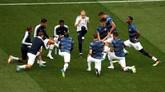 Sebelum pertandingan, kedua tim sudah bertemu tiga kali di Piala Dunia. Namun Prancis belum pernah menang atas Uruguay. La Celeste memiliki rekor sekali menang dan dua kali imbang. (REUTERS/Carlos Barria)