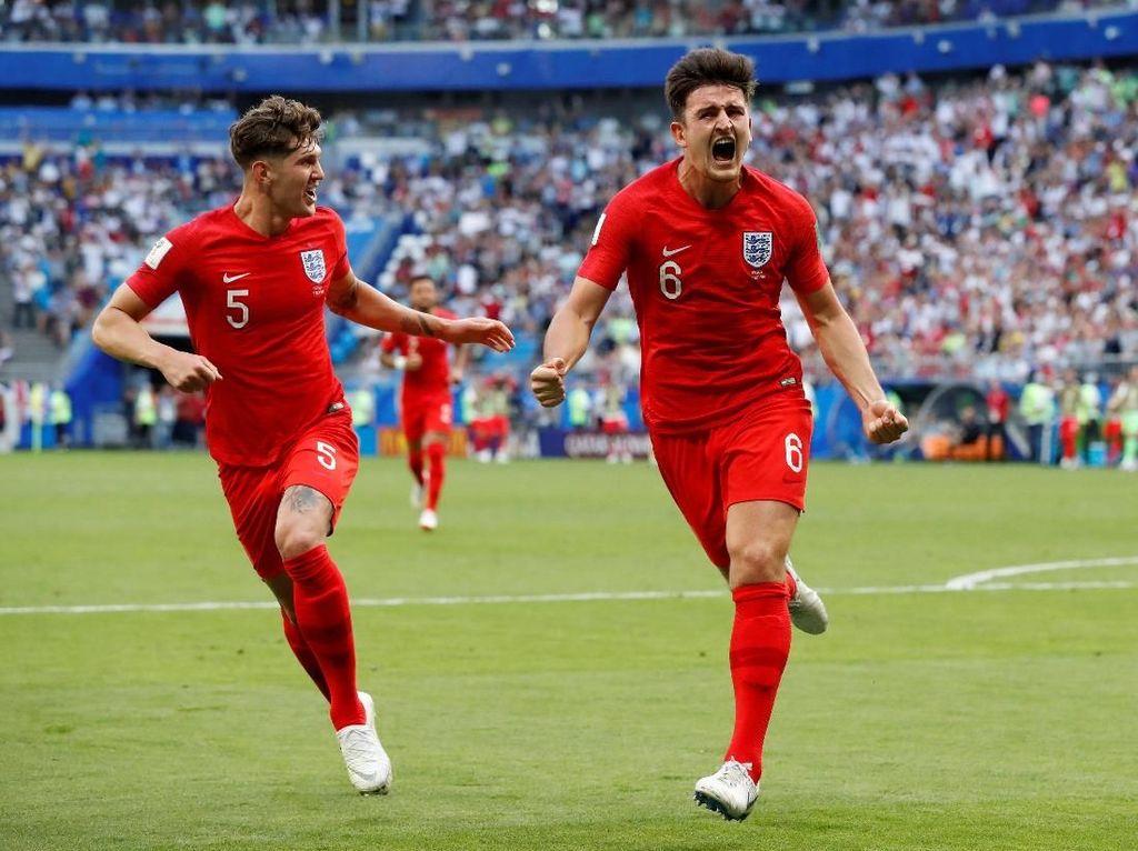 Harry Maguire merayakan gol yang diciptakan. REUTERS/Carlos Garcia Rawlins