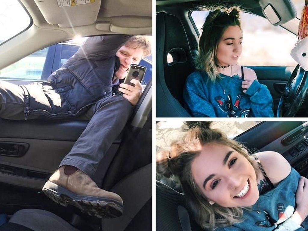 Perjuanganmengambil foto di dalam mobil.(Foto: Brightside)