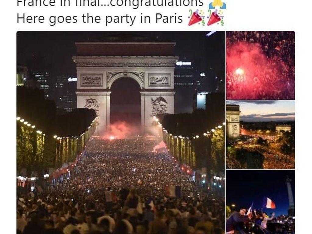 Prancis pun berpesta atas kemenangan tim nasionalnya itu. Foto: Istimewa