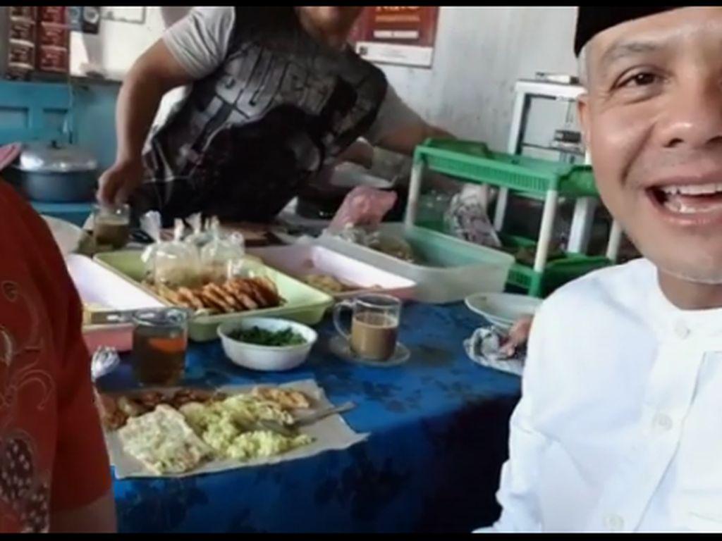 Ada beda tempe goreng dan mendoan. Tebak apa bedanya? kata Ganjar saat makan di Pasar Wanareja. Foto: instagram @ganjar_pranowo