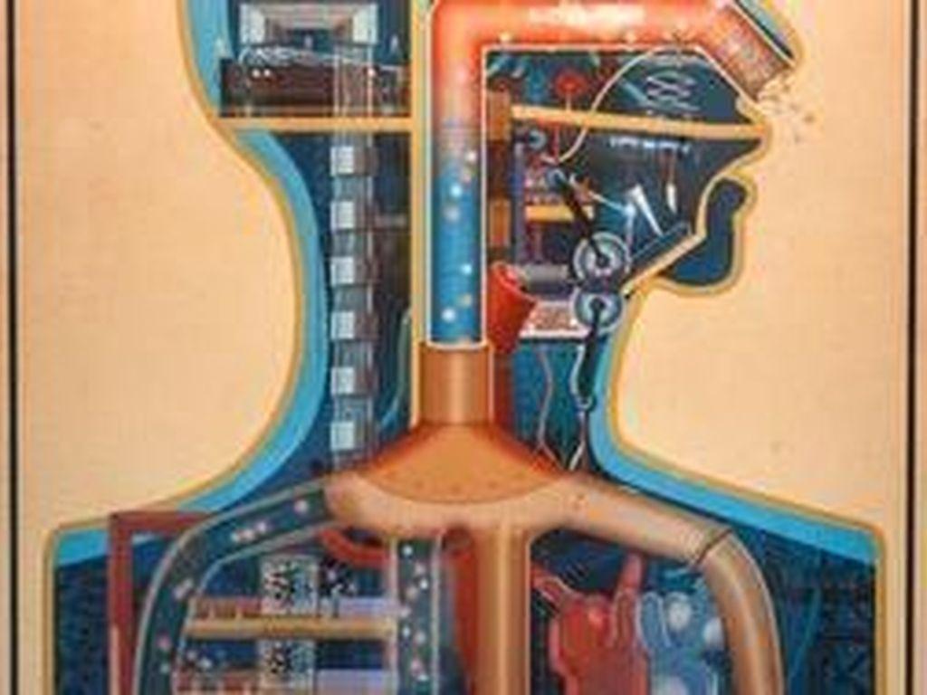 Karya seni ini berjudul Palais Industriel yang diciptakan oleh Oliver Bonhomme dengan mengambil inspirasi gaya seni Dr. Fritz Kahn. Karya ini sendiri berasal dari game Homo Machina. Foto: Josh Miller/CNET