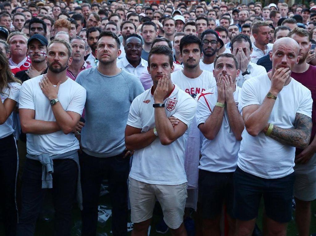 Inggris gagal melangkah ke final Piala Dunia 2018 usai kalah 1-2 dari Kroasia di Luzhniki Stadium, Kamis (12/7/2018) dinihari WIB. REUTERS/Hannah Mckay.