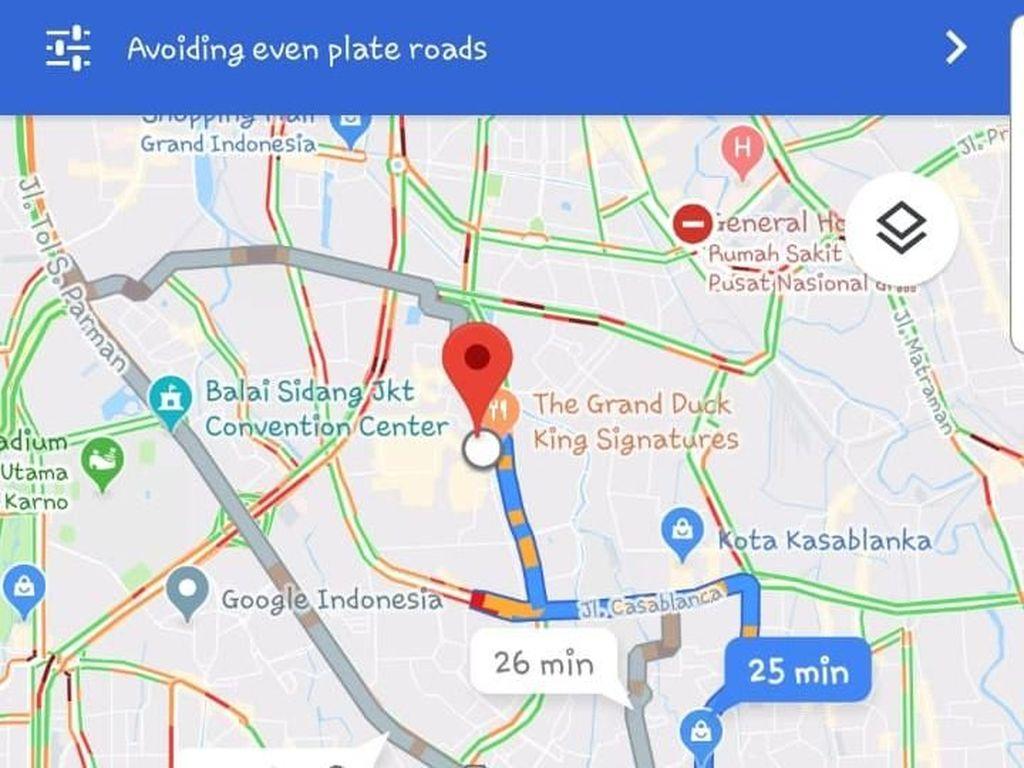 Contoh saat menggunakan pelat ganjilpada tanggal genap, maka jalur akan lebih jauh Foto: Pool (Google Maps)