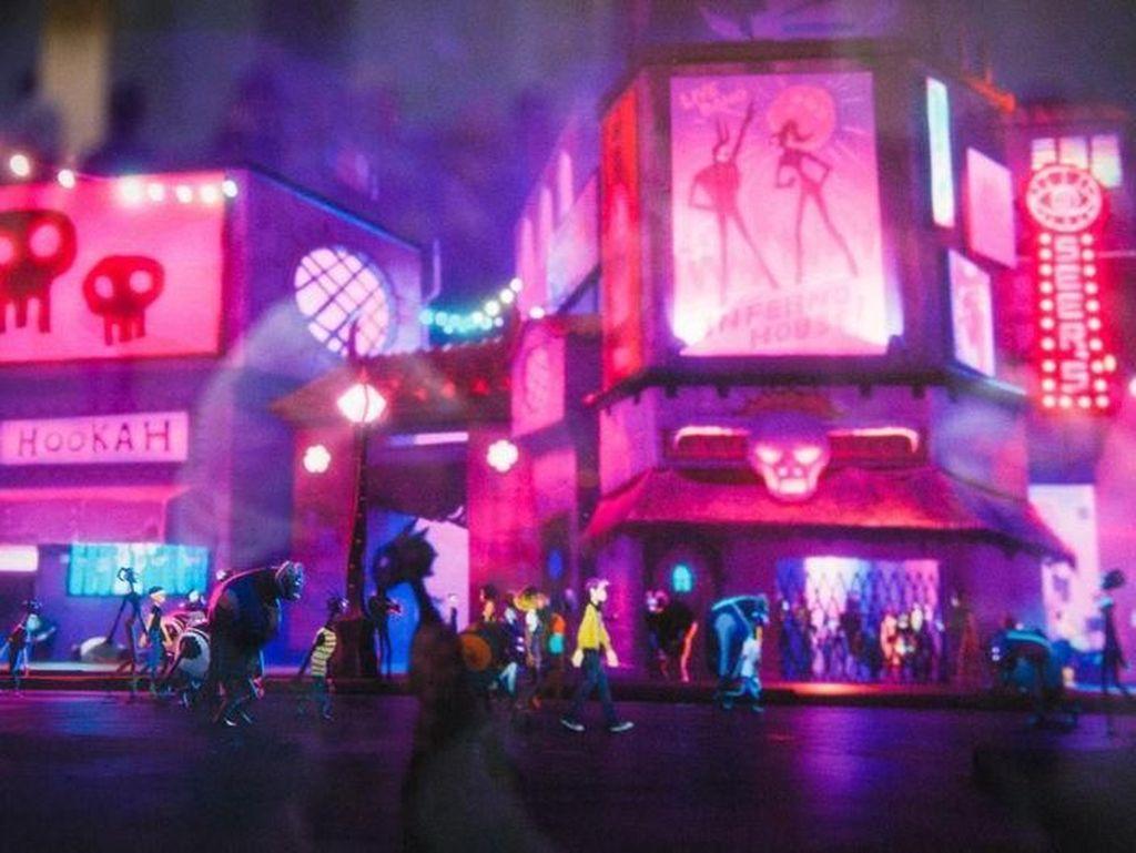 Karya ciptaan Ruel Pascual, Bryant Cannon, Eric Romano, Claire Chen, dan Beverly Chen ini berjudul Thrall City dan berasal dari game Afterparty. Foto: Josh Miller/CNET