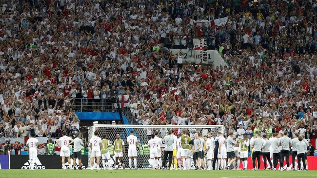 Kekalahan 1-2 dari Kroasia membuat timnas Inggris gagal mengulang pencapaian 1966 saat mereka melaju ke final Piala Dunia sekaligus menjadi untuk kali pertama. (REUTERS/Darren Staples)