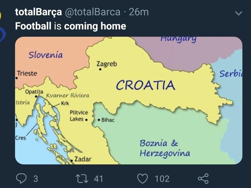 Football Its Coming Home bisa saja terpenuhi di Kroasia. The Blazers sendiri bakal menghadapi Prancis di final Piala Dunia 2018, Minggu (15/7). (Foto: Twitter @totalBarca)