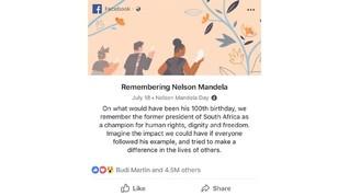 Facebook Kenang 100 Tahun Nelson Mandela di News Feed